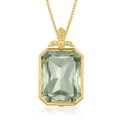 11.00 Carat Prasiolite Bumblebee Pendant Necklace in 18kt Gold Over Sterling
