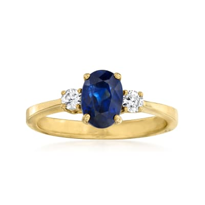 C. 1990 Vintage 1.55 Carat Sapphire and .15 ct. t.w. Diamond Ring in 18kt Yellow Gold