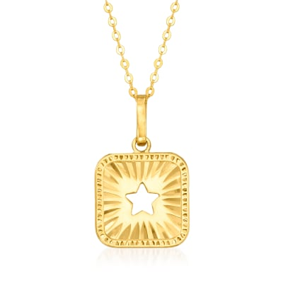 Italian 14kt Yellow Gold Cut-Out Star Pendant Necklace
