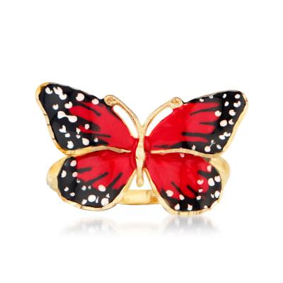 Italian Multicolored Enamel Butterfly Ring in 18kt Yellow Gold