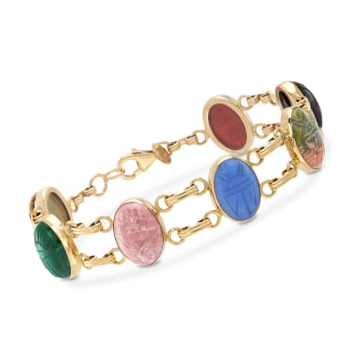 Multi-Stone Scarab Bracelet in 14kt Yellow Gold