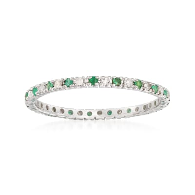 .15 ct. t.w. Emerald and .13 ct. t.w. Diamond Eternity Band Ring in 14kt White Gold