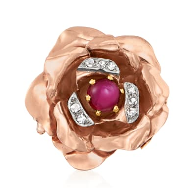 C. 1940 Vintage 1.40 Carat Ruby Flower Ring with .12 ct. t.w. Diamonds in 14kt Tri-Colored Gold