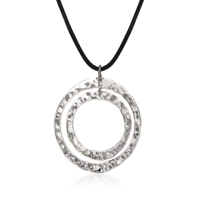 "Zina Sterling Silver ""Sahara"" Double Circle Pendant Necklace"