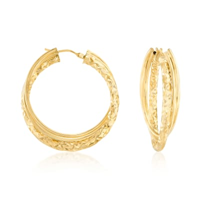 Italian 14kt Yellow Gold Intertwined Hoop Earrings