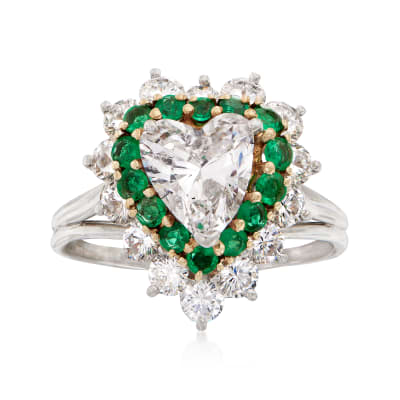 C. 1990 Vintage 2.97 ct. t.w. Diamond and .70 ct. t.w. Emerald Heart Ring in Platinum