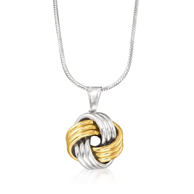 Italian Sterling Silver and 14kt Yellow Gold Love Knot Pendant Necklace