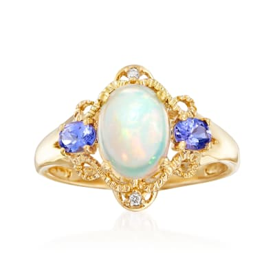 Opal and .30 ct. t.w. Tanzanite Ring with Diamond Accents in 14kt Yellow Gold
