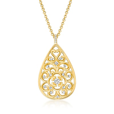 Charles Garnier .15 ct. t.w. CZ Filigree Teardrop Pendant Necklace in 18kt Gold Over Sterling