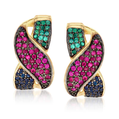 2.00 ct. t.w. Multi-Gemstone Drop Earrings in 18kt Gold Over Sterling