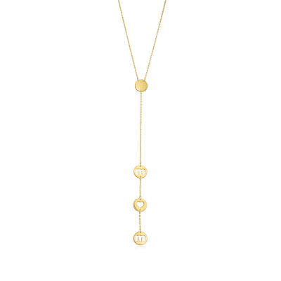"""Mom"" Lariat Necklace in 14kt Yellow Gold"