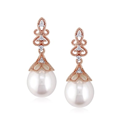 9-9.5mm Cultured Pearl Drop Earrings with Diamond Accents in 14kt Rose Gold