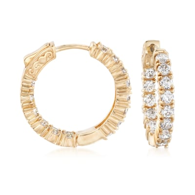 3.00 ct. t.w. CZ Inside-Outside Hoop Earrings in 14kt Gold Over Sterling