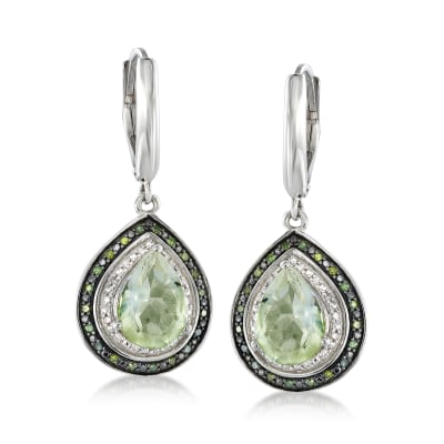 3.60 ct. t.w. Prasiolite and .18 ct. t.w. Multicolored Diamond Drop Earrings in Sterling Silver