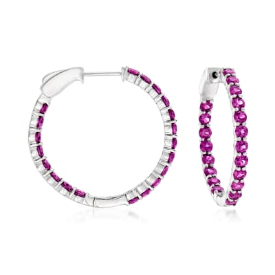 6.00 ct. t.w. Rhodolite Garnet Inside-Outside Hoop Earrings in Sterling Silver