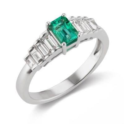 .50 Carat Emerald and .45 ct. t.w. Diamond Ring in 18kt White Gold