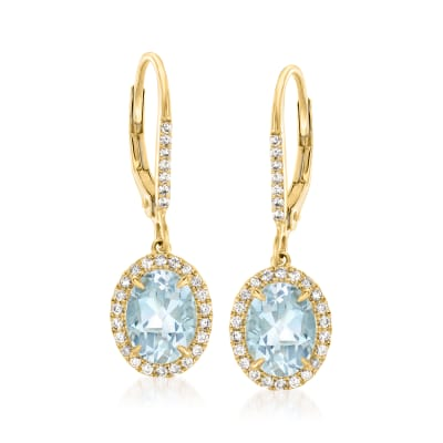 2.30 ct. t.w. Aquamarine and .30 ct. t.w. Diamond Drop Earrings in 14kt Yellow Gold