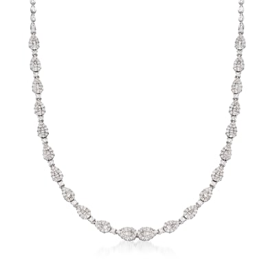 C. 1990 Vintage 4.20 ct. t.w. Round and Baguette Diamond Necklace in 18kt White Gold