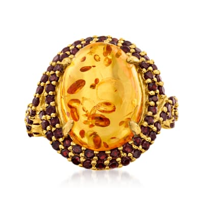 Amber and 2.30 ct. t.w. Garnet Ring in 18kt Gold Over Sterling