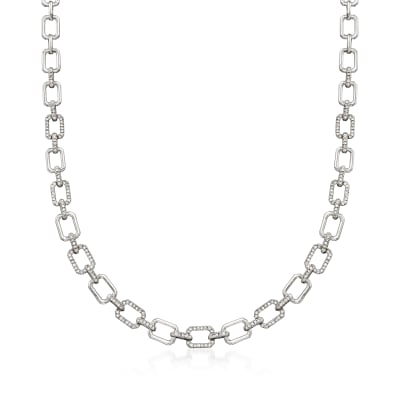 1.00 ct. t.w. Diamond Paper Clip Link Necklace in Sterling Silver