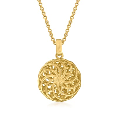 Italian 18kt Gold Over Sterling Openwork Swirl Pendant Necklace