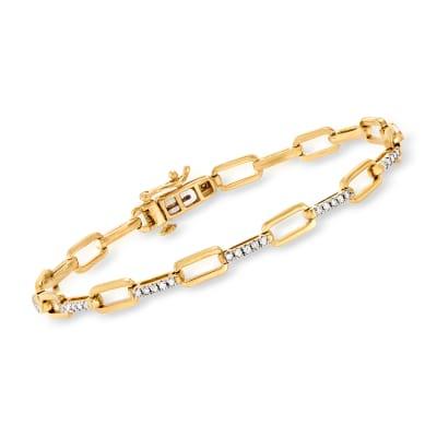 .50 ct. t.w. Diamond Paper Clip Link Bracelet in 18kt Gold Over Sterling
