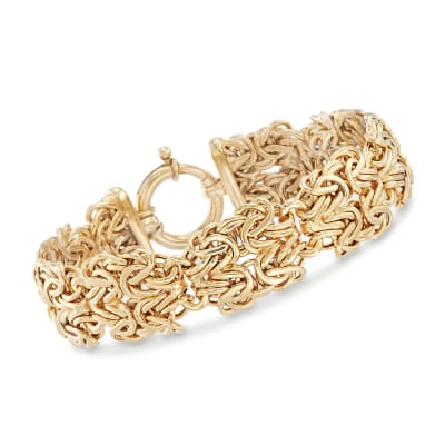 18kt Gold Over Sterling Silver Double-Byzantine Link Bracelet