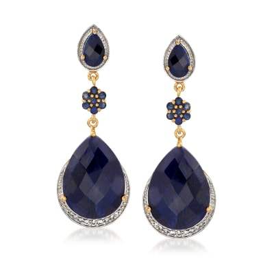 37.60 ct. t.w. Sapphire and .20 ct. t.w. White Topaz Drop Earrings in 18kt Gold Over Sterling