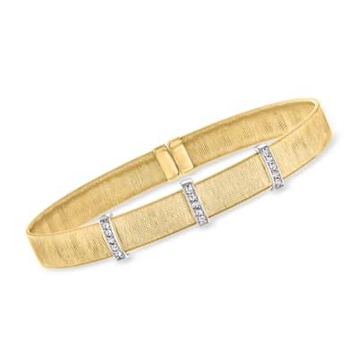 Italian .15 ct. t.w. Diamond Station Cuff Bracelet in 14kt Two-Tone Gold