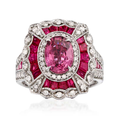 1.50 Carat Pink Sapphire and 2.80 ct. t.w. Ruby with .57 ct. t.w. Diamond Ring in 14kt White Gold