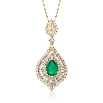 1.00 Carat Emerald and 1.03 ct. t.w. Diamond Pendant Necklace in 18kt Yellow Gold