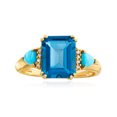 3.60 Carat London Blue Topaz and Turquoise Ring with Diamond Accents in 14kt Yellow Gold