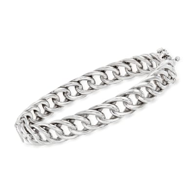 Italian Sterling Silver Curb-Link Bangle Bracelet