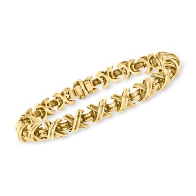 C. 1990 Vintage Tiffany Jewelry 18kt Yellow Gold X Bracelet