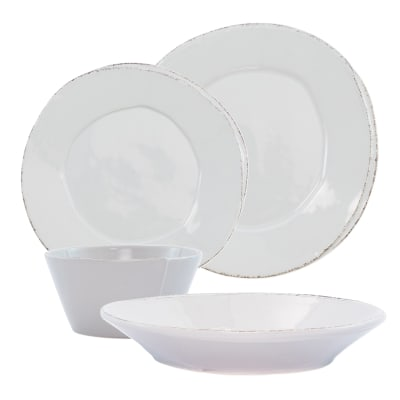 "Vietri ""Lastra"" Light Gray Dinnerware from Italy"