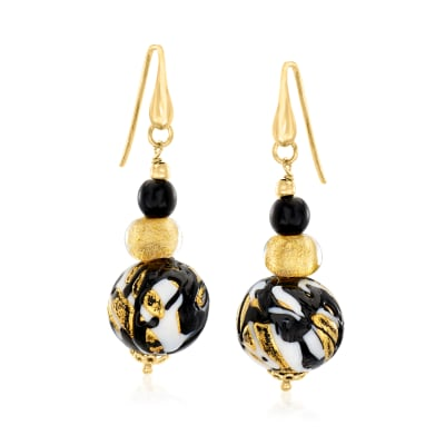 Italian Black, White and Metallic Murano Glass Bead Drop Earrings with 18kt Gold Over Sterling