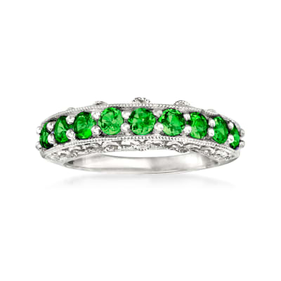 1.10 ct. t.w. Green Chrome Diopside Ring in Sterling Silver
