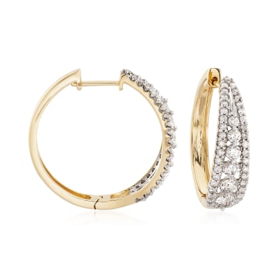 2.00 ct. t.w. Diamond Graduated Hoop Earrings in 14kt Yellow Gold