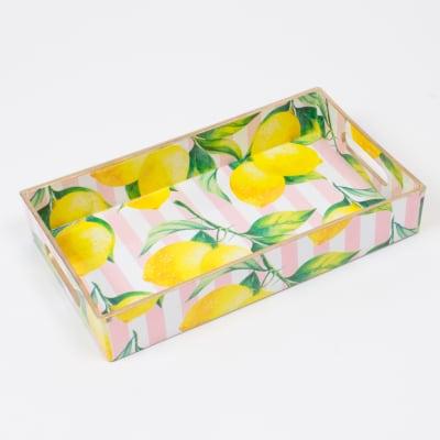 Pink Striped Lemon-Print Rectangular Tray