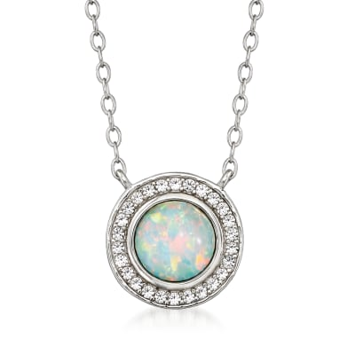 Opal and .30 ct. t.w. White Topaz Necklace in Sterling Silver