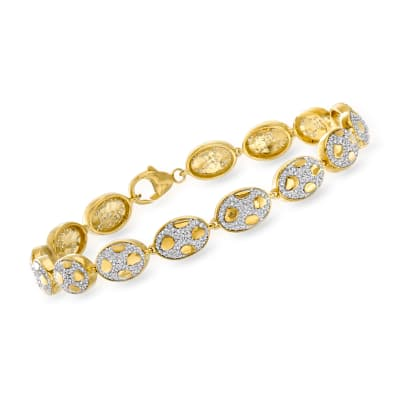 1.33 ct. t.w. Diamond Animal-Print Bracelet in 18kt Gold Over Sterling