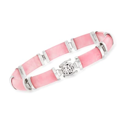 "Pink Jade ""Good Fortune"" Bracelet in Sterling Silver"