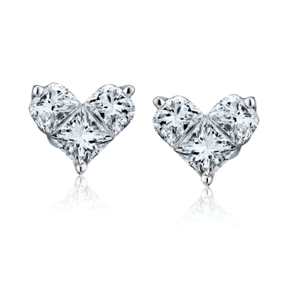 1.02 ct. t.w. Diamond Heart Earrings in 18kt White Gold