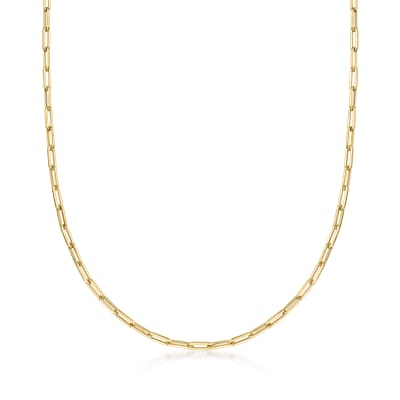 Italian 14kt Yellow Gold Paper Clip Link Necklace
