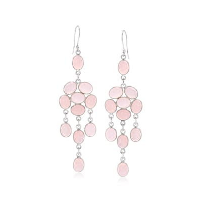 Pink Chalcedony Chandelier Drop Earrings in Sterling Silver