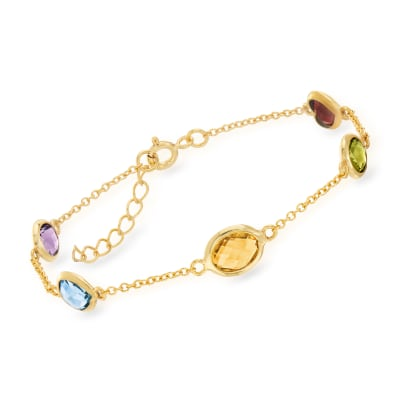 5.50 ct. t.w. Multi-Gemstone Station Bracelet in 18kt Gold Over Sterling