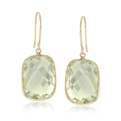 18.00 ct. t.w. Prasiolite Drop Earrings in 14kt Yellow Gold