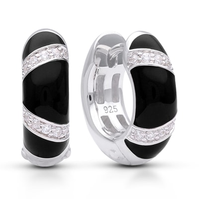 "Belle Etoile ""Glissando"" Black Enamel and .30 ct. t.w. CZ Omega Earrings in Sterling Silver"