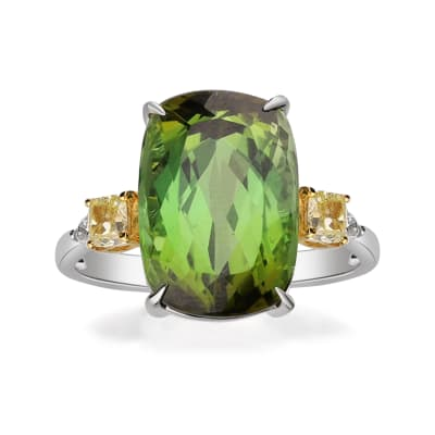 8.75 Carat Green Tourmaline Ring with .45 ct. t.w. Yellow and White Diamonds in 14kt Two-Tone Gold