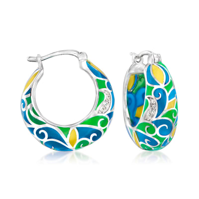 Multicolored Enamel Swirl Hoop Earrings with White Topaz Accents in Sterling Silver